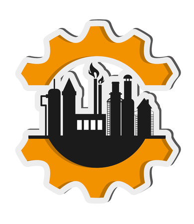 flat design oil refinery with gear icon vector illustration