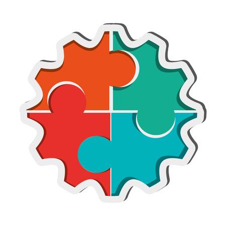 flat design puzzle gears icon vector illustration Illustration