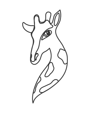 flat design giraffe cartoon icon vector illustration Illustration