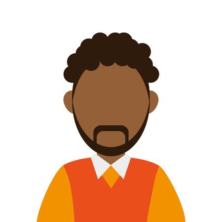 flat design dark skin faceless man portrait icon vector illustration Illustration