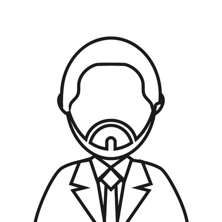 faceless: flat design bearded faceless man portrait icon vector illustration