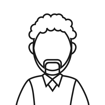 flat design bearded faceless man portrait icon vector illustration