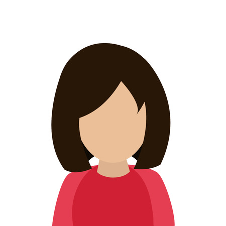 flat design faceless woman portrait icon vector illustration Illustration