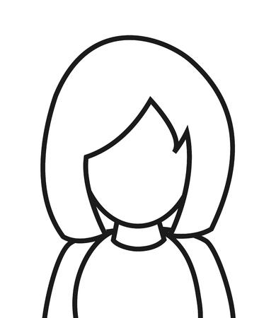 faceless: flat design faceless woman portrait icon vector illustration Illustration