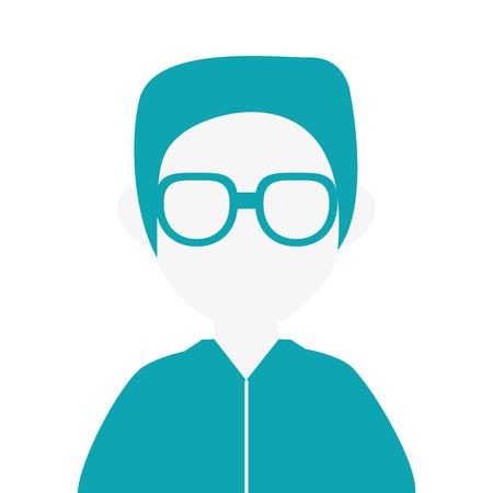 design plat homme sans visage portrait icône illustration vectorielle Vecteurs