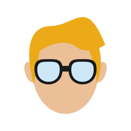 anonymity: flat design faceless man portrait icon vector illustration