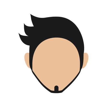fake mask: flat design bearded faceless man portrait icon vector illustration