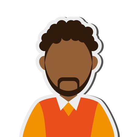 anonymity: flat design dark skin faceless man portrait icon vector illustration Illustration