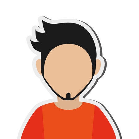anonymity: flat design bearded faceless man portrait icon vector illustration