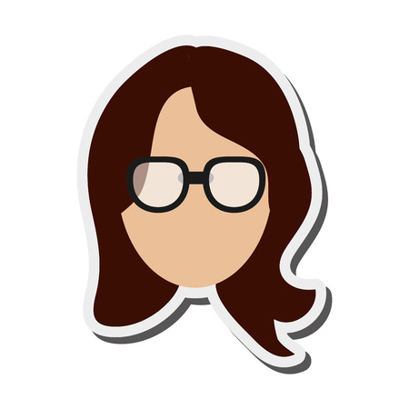 faceless: flat design faceless woman with glasses portrait icon vector illustration