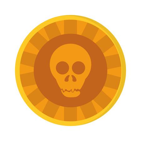 flat design Aztec gold coin skull icon vector illustration