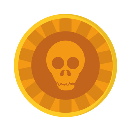 flat design Aztec gold coin skull icon vector illustration