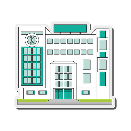 flaches Design Krankenhausgebäude Symbol Vektor-Illustration