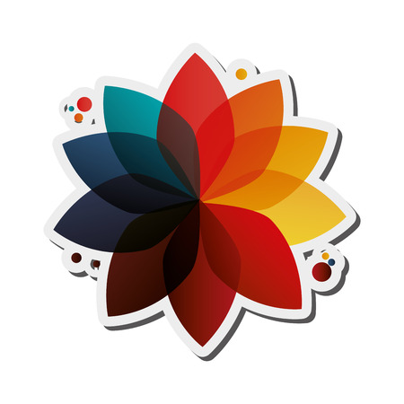 chromatic colour: flat design abstract geometric flower icon vector illustration