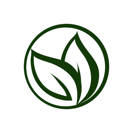 flat design abstract leaves nature icon vector illustration