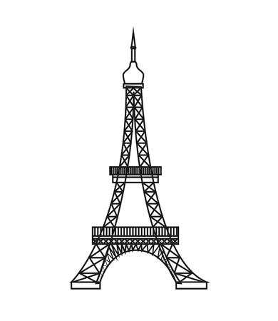 flat design eiffel tower icon vector illustration