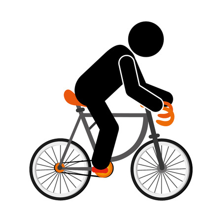 cycle suit: flat design person riding bike icon vector illustration Illustration