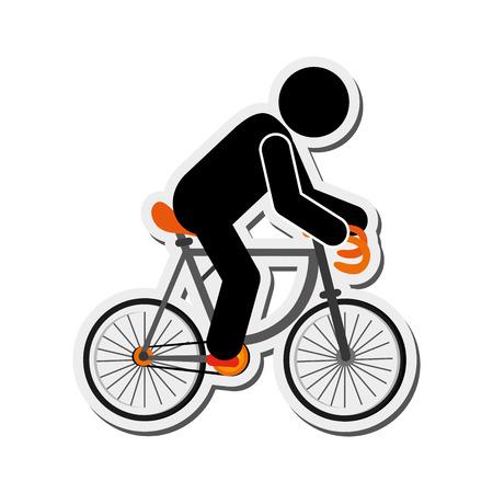 spoke: flat design person riding bike icon vector illustration Illustration