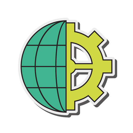 parallels: flat design earth globe diagram and gear icon vector illustration Illustration