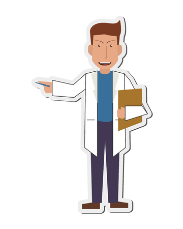 test results: flat design doctor or medic with clipboard icon vector illustration Illustration