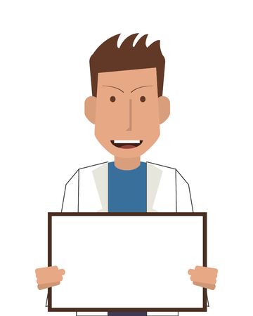 flat design doctor or medic with smallboard icon vector illustration