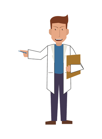 flat design doctor or medic with clipboard icon vector illustration Illustration