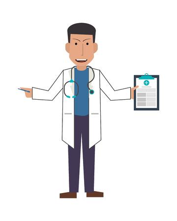 examenes de laboratorio: médico o médico de diseño plano con el icono del portapapeles ilustración vectorial