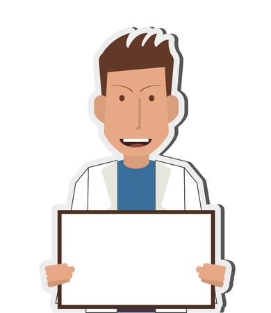 medic: flat design doctor or medic with smallboard icon vector illustration