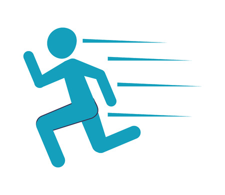 flat design running pictogram icon vector illustration Illustration