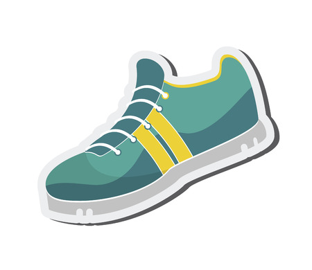 distance: flat design running shoes icon vector illustration