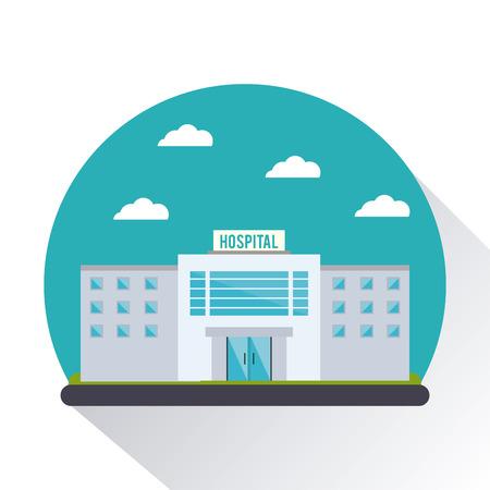 病院雲クリニック医療医療アイコンの建物します。カラフルなサークル デザイン。ベクトル図
