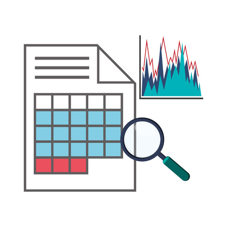 Spreadsheet lupe document infographic icon. Colorful design. Vector illustration Illustration