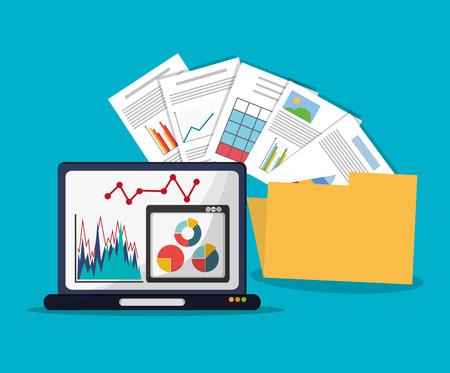 hoja de calculo: Spreadsheet laptop document infographic icon. Colorful design. Vector illustration Vectores