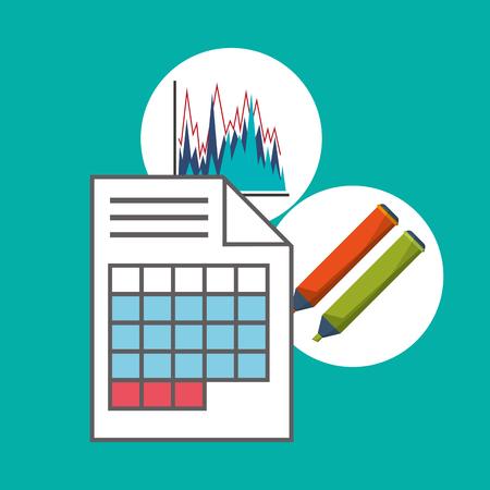 hoja de calculo: Spreadsheet marker document infographic icon. Colorful design. Vector illustration