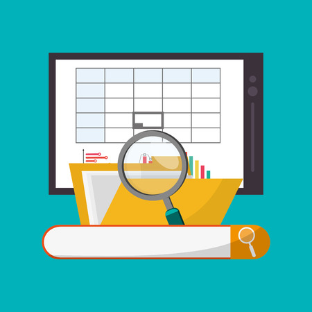 hoja de calculo: Spreadsheet tablet lupe file document infographic icon. Colorful design. Vector illustration