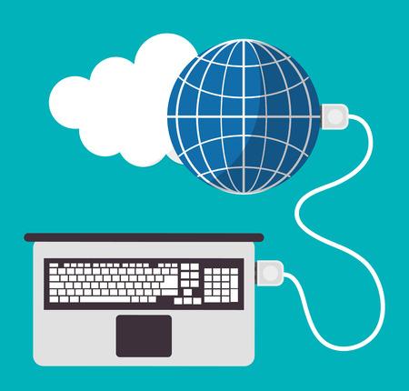 hoja de calculo: Hoja de cálculo portátil nube icono mundial. El diseño colorido. ilustración vectorial Vectores