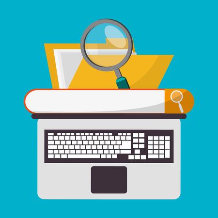Spreadsheet laptop file lupe icon. Colorful design. Vector illustration Illustration
