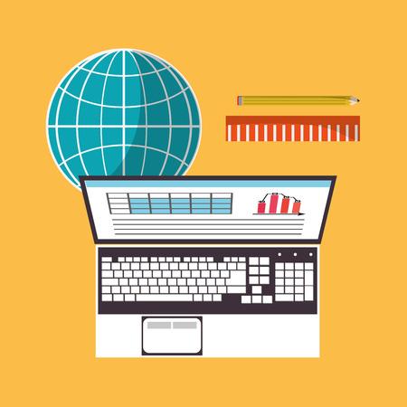 Spreadsheet laptop document infographic icon. Colorful design. Vector illustration Illustration