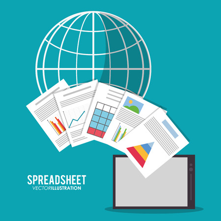 Spreadsheet tablet global document infographic icon. Colorful design. Vector illustration