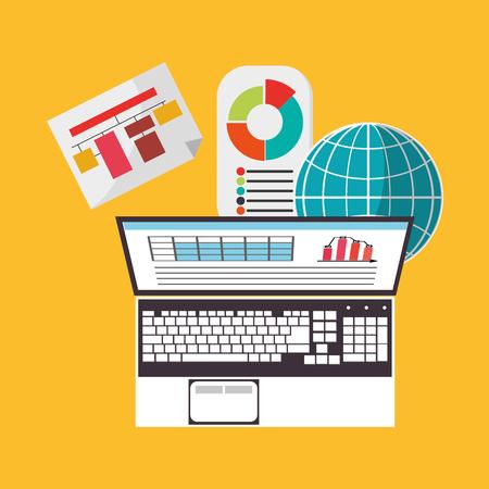 hoja de calculo: Spreadsheet laptop infographic icon. Colorful design. Vector illustration Vectores