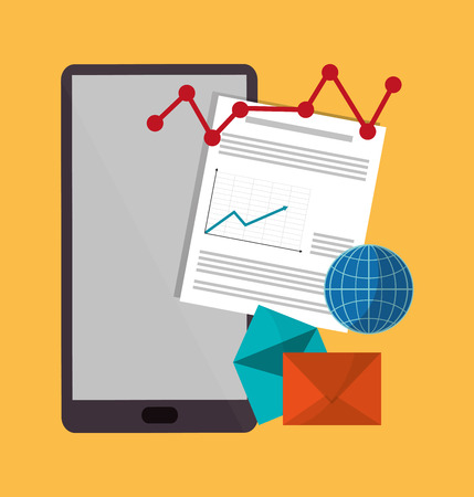 Spreadsheet smartphone envelope document infographic icon. Colorful design. Vector illustration Illustration