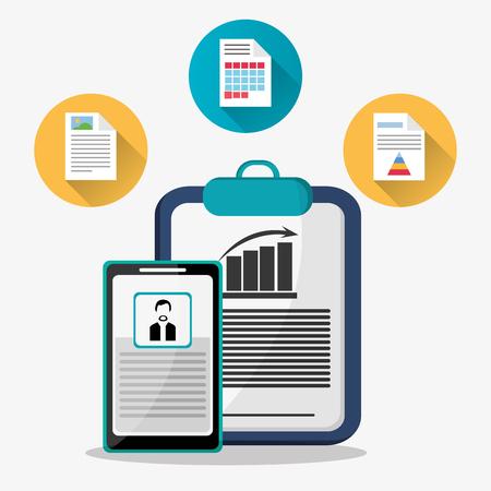 hoja de calculo: Spreadsheet smartphone document infographic icon. Colorful design. Vector illustration