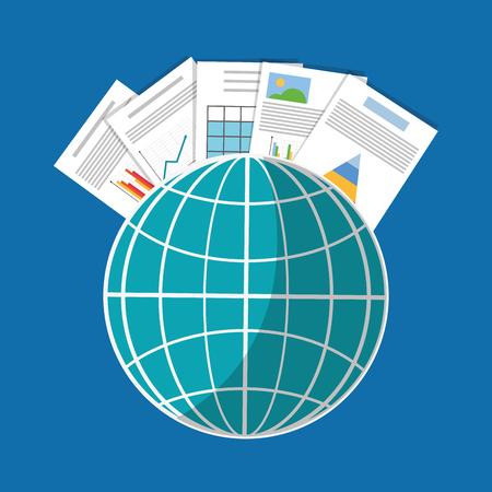 hoja de calculo: Hoja de cálculo icono de infografía mundial. El diseño colorido. ilustración vectorial