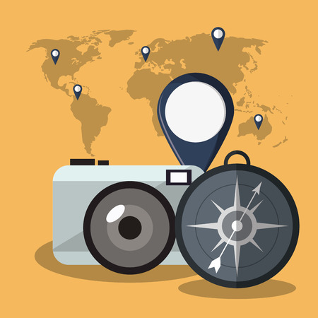 visiting card: compass camera map time travel vacations trip icon. Colorful design. Vector illustration Illustration