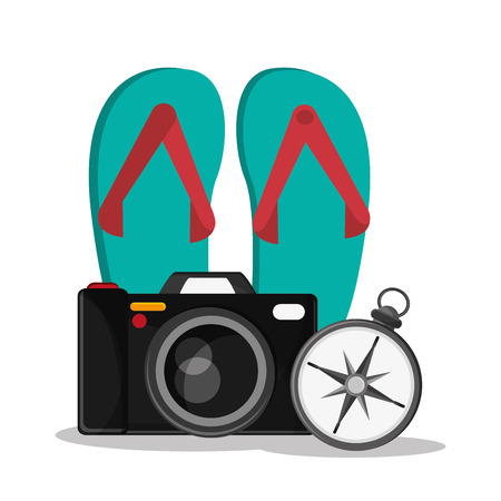 sandals: camera sandals compass time travel vacations trip icon. Colorful design. Vector illustration