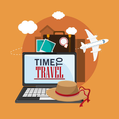 vacation with laptop: laptop airplane picture suitcase hat time travel vacations trip icon. Colorful design. Vector illustration