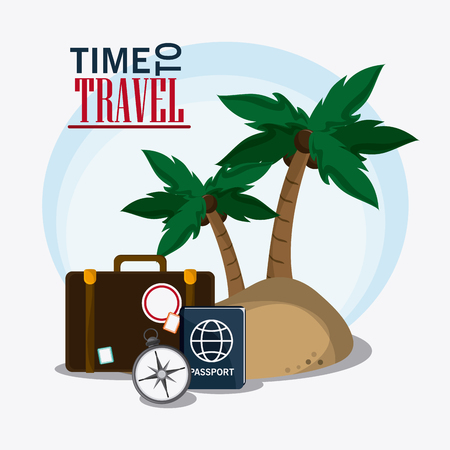 visiting card: baggage palm tree time travel vacation trip icon. Colorful design. Vector illustration