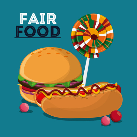 hot dog hamburger candy fair food snack carnival festival icon. Colorful design. Vector illustration Illustration