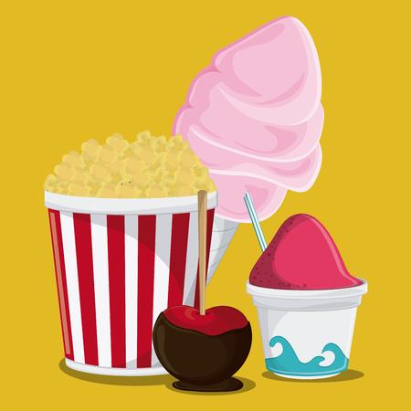 carretto gelati: pop corn gelato mela zucchero filato giusto spuntino icona festa di carnevale. design colorato. illustrazione di vettore Vettoriali