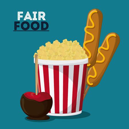 pop corn: pop corn dog  apple fair food snack carnival festival icon. Colorful design. Vector illustration Illustration